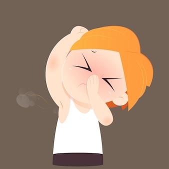 Homem dos desenhos animados, cheirando e cheirando seu mau cheiro