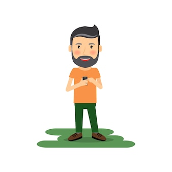 Homem dos desenhos animados com gadget