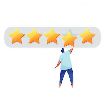 Homem dos desenhos animados com grande feedback estrela dourada