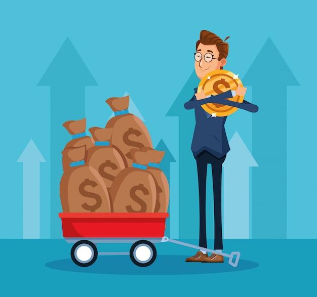 Homem dos desenhos animados com moedas de dinheiro e carrinho com sacos de dinheiro