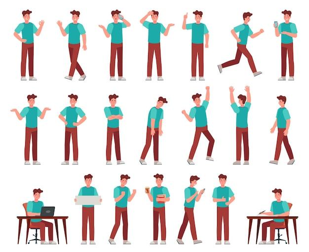 Homem dos desenhos animados com roupa casual. jovem personagem masculino em poses diferentes. aluno com vários gestos, conjunto de vetores de expressão de rosto. cara trabalhando com laptop, escrevendo na mesa, falando ao telefone, rotina