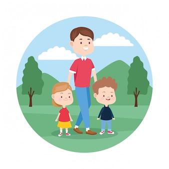Homem dos desenhos animados com seus filhos