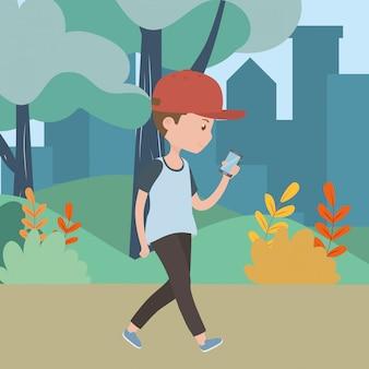 Homem dos desenhos animados com smartphone no parque