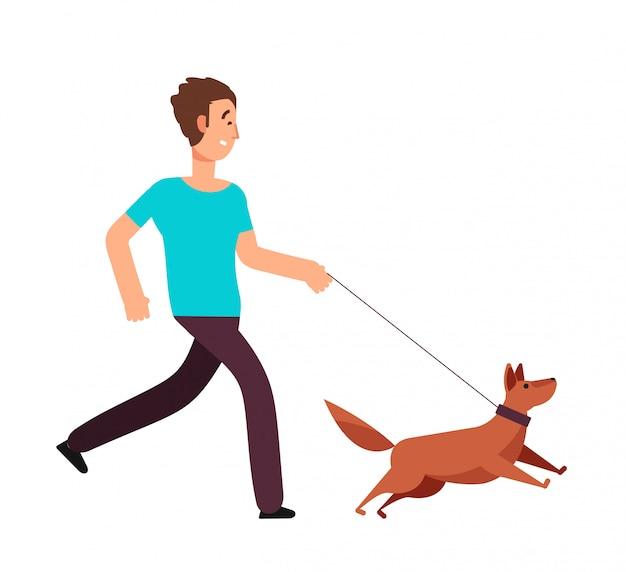 Homem dos desenhos animados, correndo com o cachorro. conceito de vetor de estilo de vida saudável