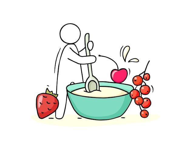 Homem dos desenhos animados cozinhando mingau com frutas.