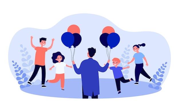 Homem dos desenhos animados dando balões coloridos para as crianças.
