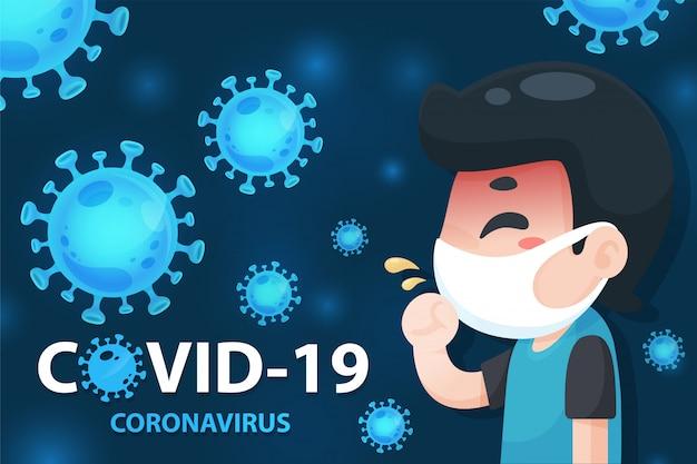Homem dos desenhos animados doente com gripe, usando uma máscara para se proteger do vírus corona ao redor.