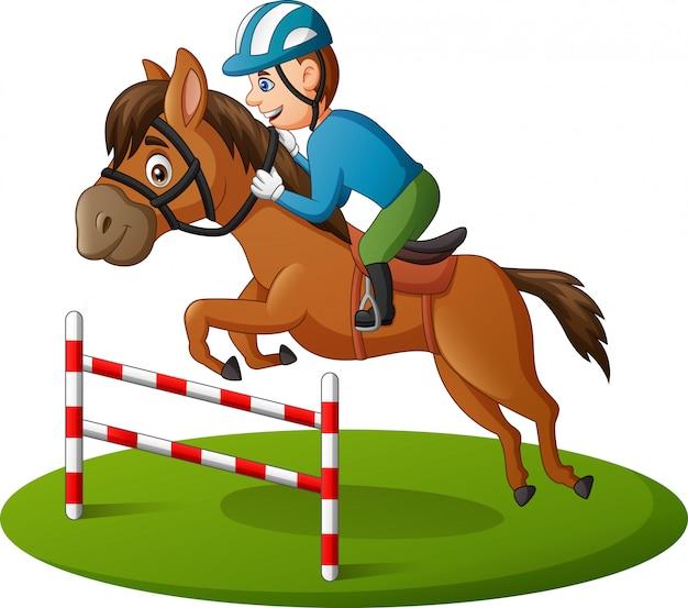Homem dos desenhos animados e cavalo correndo pulando