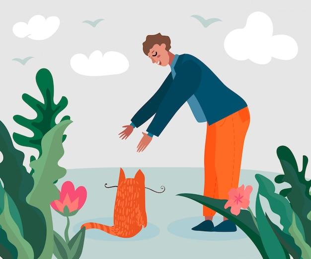 Homem dos desenhos animados e gato na ilustração da natureza