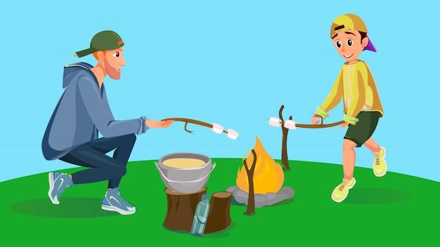 Homem dos desenhos animados e menino assado marshmallow sobre fogo