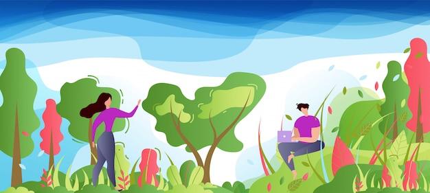 Homem dos desenhos animados e mulher no parque ou floresta.
