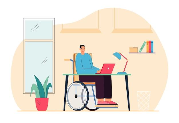 Homem dos desenhos animados em cadeira de rodas, trabalhando no computador. ilustração plana