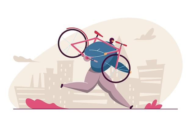 Homem dos desenhos animados em máscara de roubo de bicicleta. ilustração em vetor plana. ladrão segurando bicicleta rosa, fugindo, cometendo crime. roubo de bicicleta, violação da lei, conceito criminal para design de banner ou página de destino
