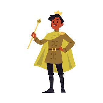 Homem dos desenhos animados em traje de rei e coroa real de ouro segurando uma vara de cetro e sorrindo - jovem feliz com pele escura, vestindo capa de príncipe. ilustração.
