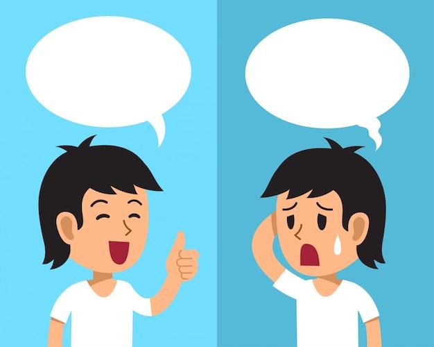 Homem dos desenhos animados, expressando emoções diferentes com bolhas do discurso