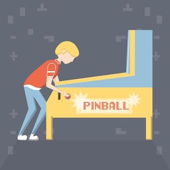Homem dos desenhos animados, jogando no jogo de arcade pinball
