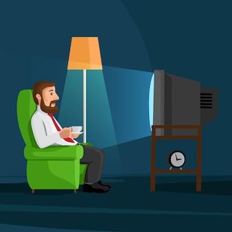 Homem dos desenhos animados no sofá assiste tv com xícara de café