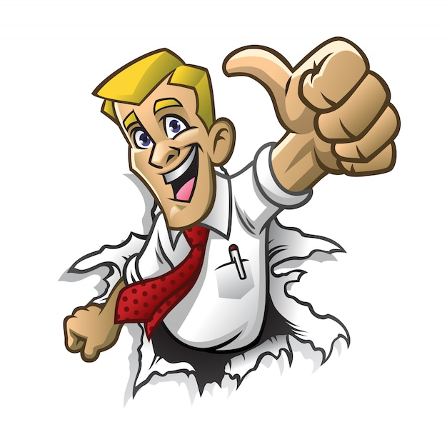 Homem dos desenhos animados polegar para cima