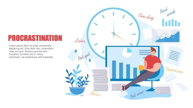 Homem dos desenhos animados procrastinar no trabalho baixa produtividade