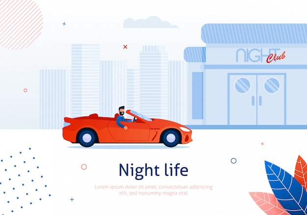Homem dos desenhos animados que conduz o carro do cabriolet ao clube nocturno.