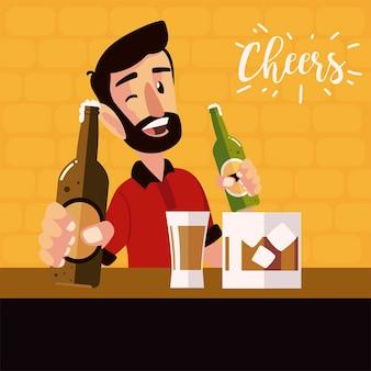 Homem dos desenhos animados segurando garrafas de cerveja e comemoração do copo de uísque, ilustração de alegria