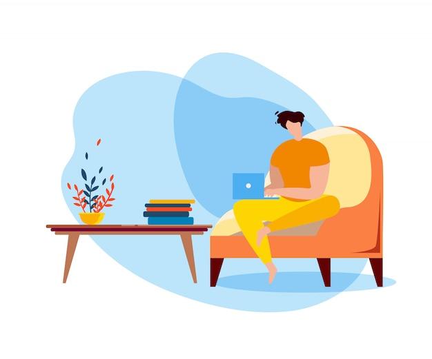 Homem dos desenhos animados sentar no sofá com o notebook