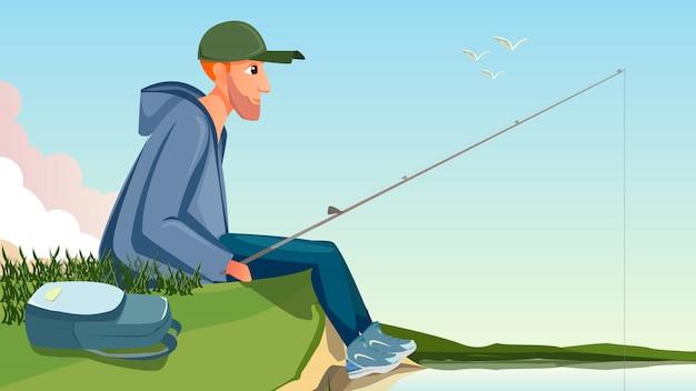 Homem dos desenhos animados, sente-se no banco do rio, segurando a vara de pesca