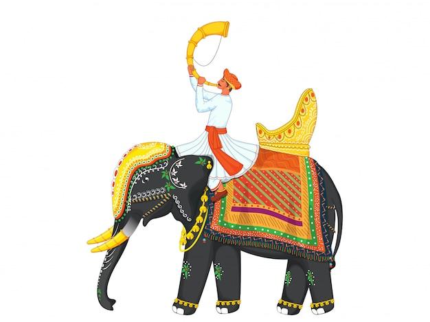 Homem dos desenhos animados, tocando o chifre de tutari, sente-se no elefante decorativo para celebração indiana.