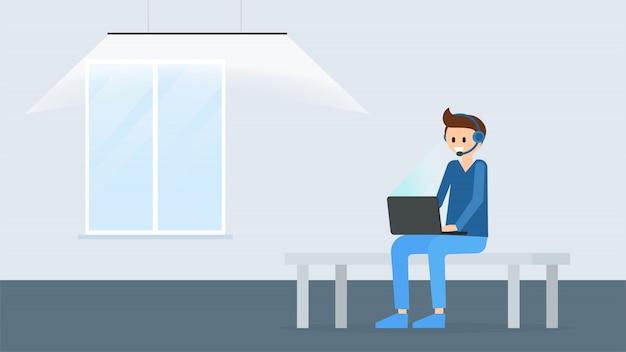 Homem dos desenhos animados, trabalhando no laptop moderno