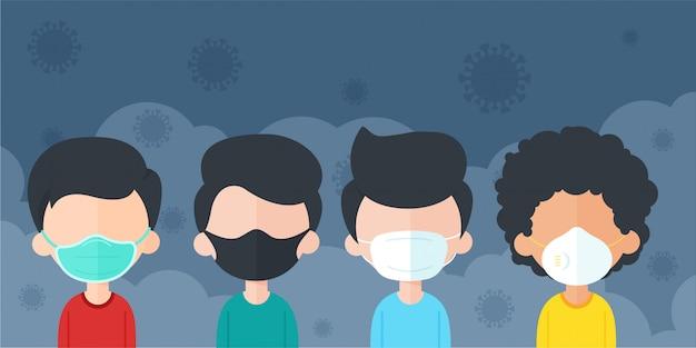Homem dos desenhos animados, usando uma máscara para proteger contra poeira e vírus corona