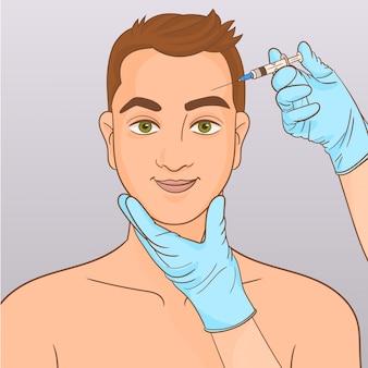 Homem, durante, cirurgia, enchimento, facial, rugas