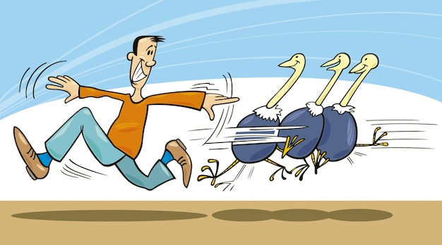 Homem e avestruzes