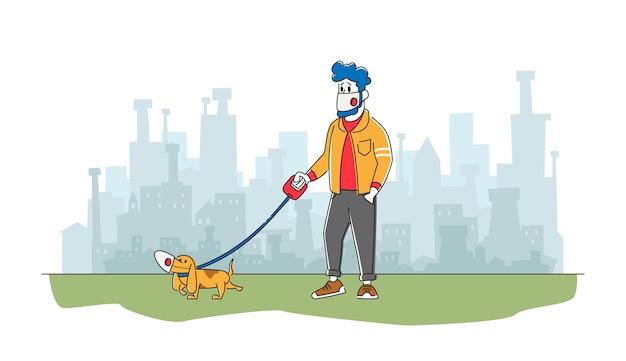 Homem e cachorro com máscaras faciais de proteção caminhando ao ar livre em uma cidade poluída ou pandemia de coronavírus