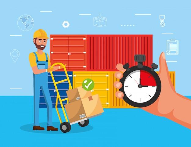 Homem e carrinhos com distribuição de serviço de caixas