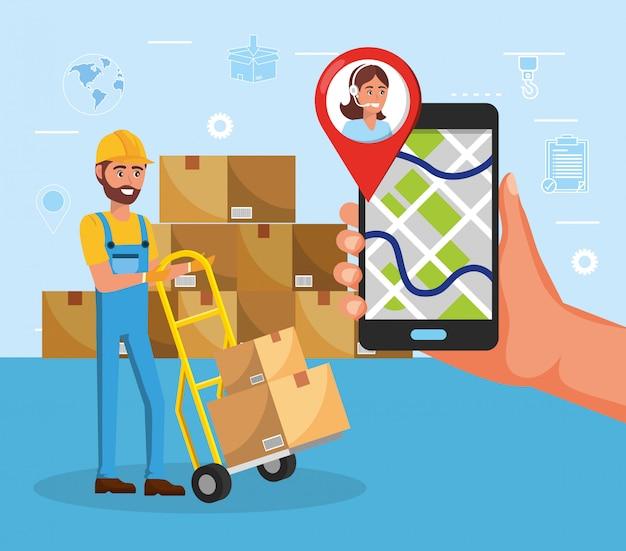 Homem e carrinhos com distribuição de serviços de pacotes