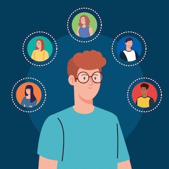 Homem e comunidade de rede social, interativa, comunicação e conceito global