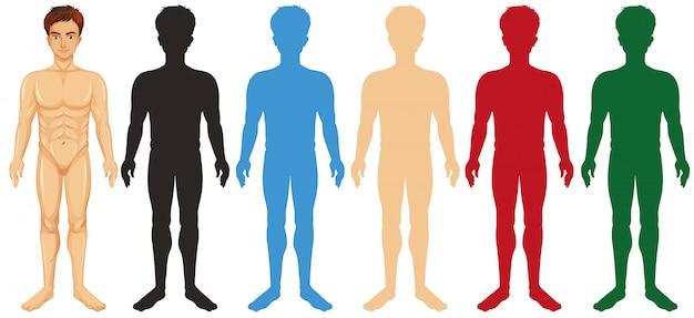 Homem e corpos de cores diferentes da silhueta