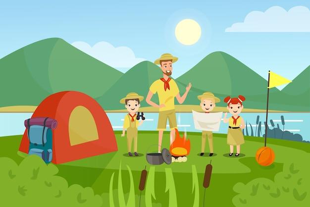 Homem e crianças pré-escolares acampando
