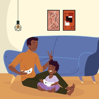 Homem e filho jogando videogame
