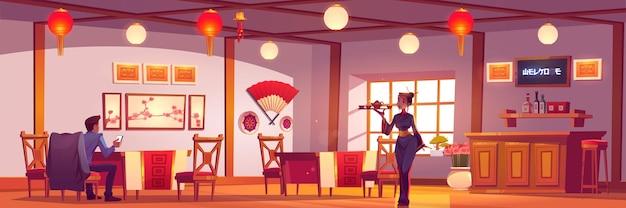 Homem e garçonete em restaurante chinês ou japonês.