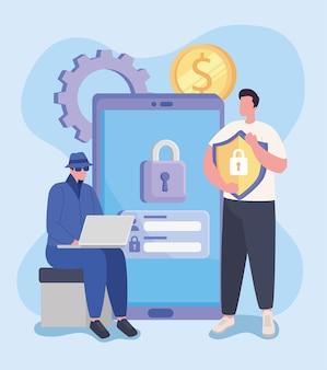 Homem e ícones hacker de smartphone