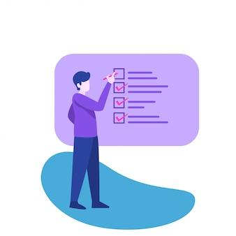 Homem e ilustração de lista de verificação