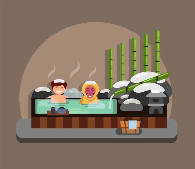 Homem e macaco mergulhados no conceito tradicional de ilustração de fontes termais