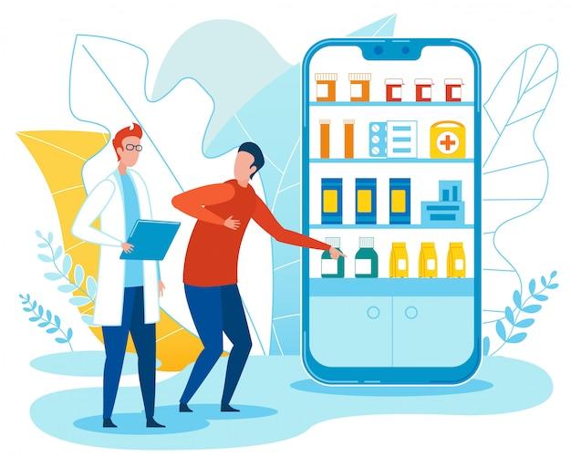 Homem e médico falam sobre pílulas em farmácia on-line