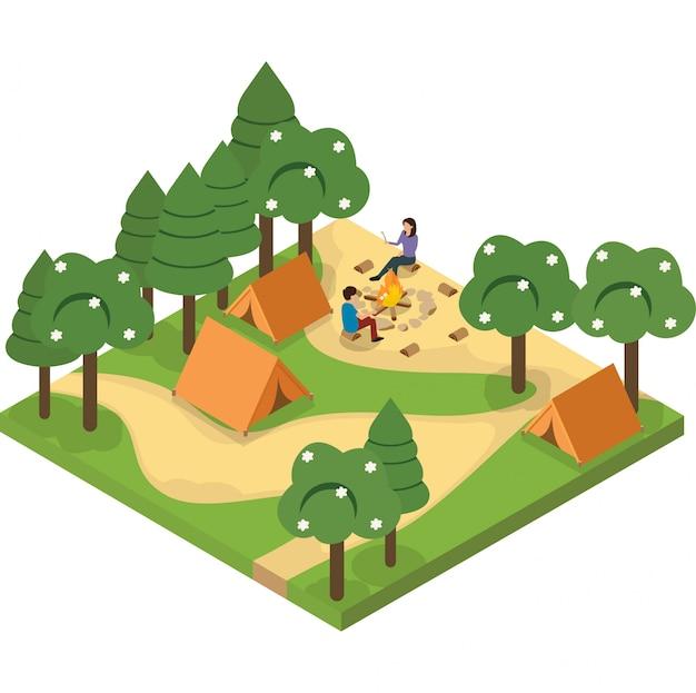 Homem e mulher acampando juntos na ilustração da floresta