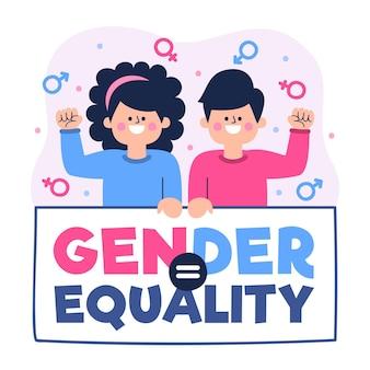 Homem e mulher aceitando a idéia de igualdade de gênero