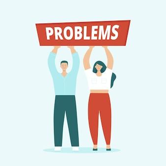 Homem e mulher adultos, marido e mulher, estão tendo sérios problemas. conceito de brigas familiares, conflitos, problemas de relacionamento, divórcio. ilustração em vetor plana isolada.