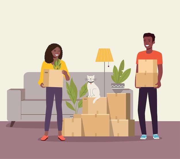Homem e mulher afro-americanos seguram caixas na sala de estar. mudança de casa. ilustração vetorial