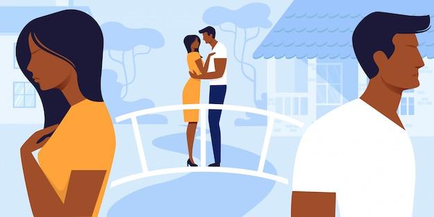 Homem e mulher amor e relações.