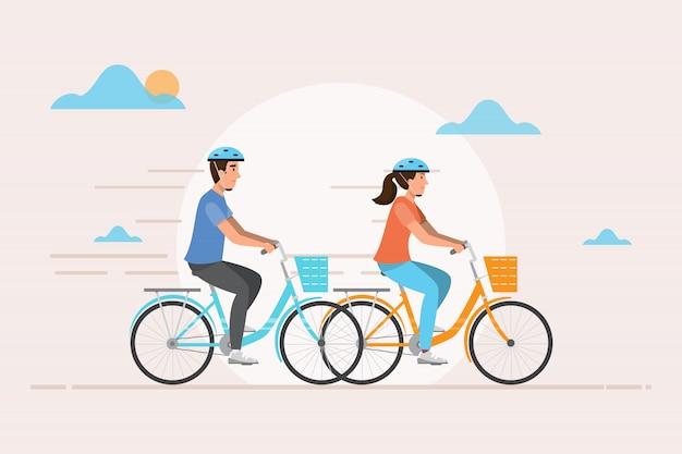 Homem e mulher andam de bicicleta. ilustração vetorial